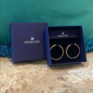 Swarovski Rose Gold Hoop Earrings 🤍